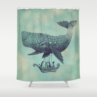 whales Shower Curtains featuring Tea at 2,000 Feet by Eric Fan