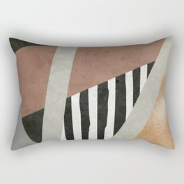 Abstract Geometric Composition in Copper, Brown, Black Rectangular Pillow
