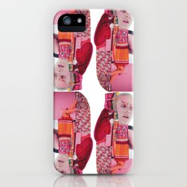 pinky was ready - a pink and red modern collage iPhone Case