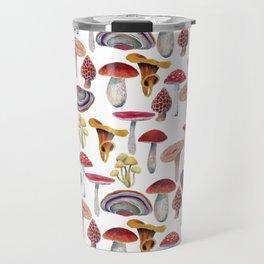 Mushrooms pattern. Hand drawn with colored pencils. Autumn harvest theme. Travel Mug
