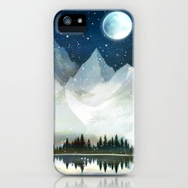 Mountain Lake Under the Starlight iPhone Case