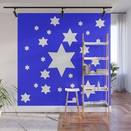 WHITE STARS ON BLUE DESIGN ART Wall Mural