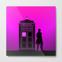 Tardis With The Fifth Doctor Metal Print