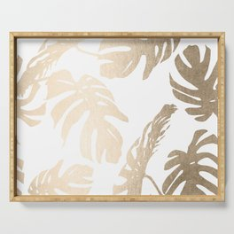 Simply Tropical Palm Leaves in White Gold Sands Serving Tray