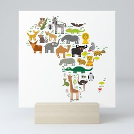 map of Africa: parrot Hyena Rhinoceros Zebra Hippopotamus Crocodile Turtle Elephant Mamba snake Mini Art Print