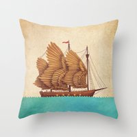 brown Throw Pillows featuring Winged Odyssey by Terry Fan