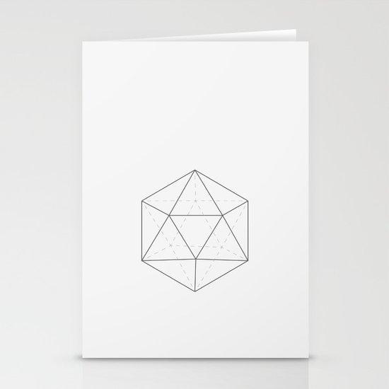 Black & white Icosahedron Stationery Cards