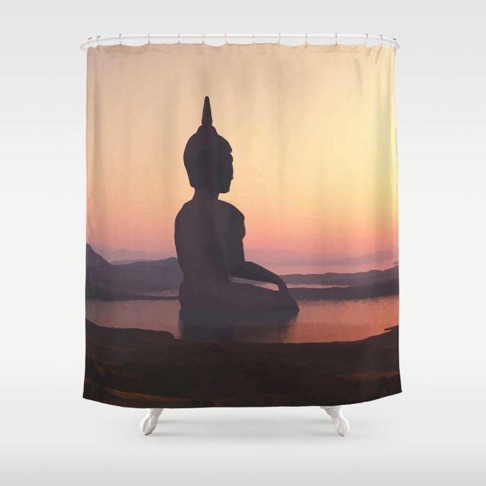 Buddha Nirvana Land Shower Curtain