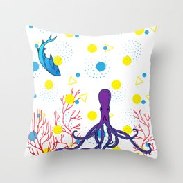 Memphis Ocean #5 Throw Pillow