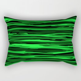 Lime Green and Black Stripes Rectangular Pillow