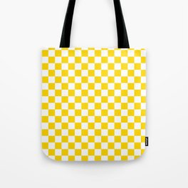Small Checkered - White and Gold Yellow Tote Bag