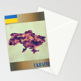 Ukraine Map with Flag Stationery Cards