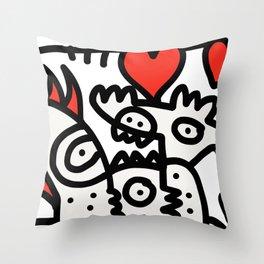 Spread Love Graffiti Art Black and White Red Heart  Throw Pillow