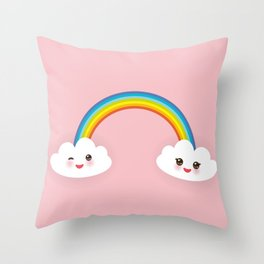 Kawaii funny white clouds, muzzle with pink cheeks and winking eyes, rainbow on light pink Throw Pillow