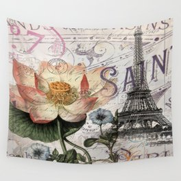 french scripts lotus floral vintage paris eiffel tower Wall Tapestry