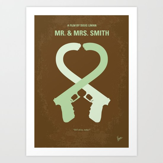 No187 My Mr & Mrs. Smith minimal movie poster Art Print