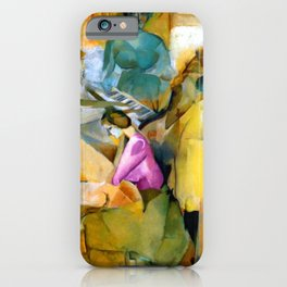Blue Violin and the Musical Sonata portrait painting by Marcel Duchamp iPhone Case