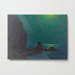Granville Redmond Catalina Island Coast Under a Moonlit Sky Oil Painting Vintage American Art Metal Print
