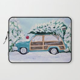 Blue vintage Christmas woody car with pine tree Laptop Sleeve