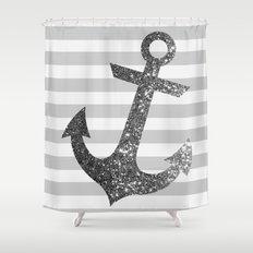GLITTER ANCHOR IN SILVER  Shower Curtain