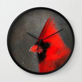 MALE CARDINAL - WINTER WILDLIFE Wall Clock