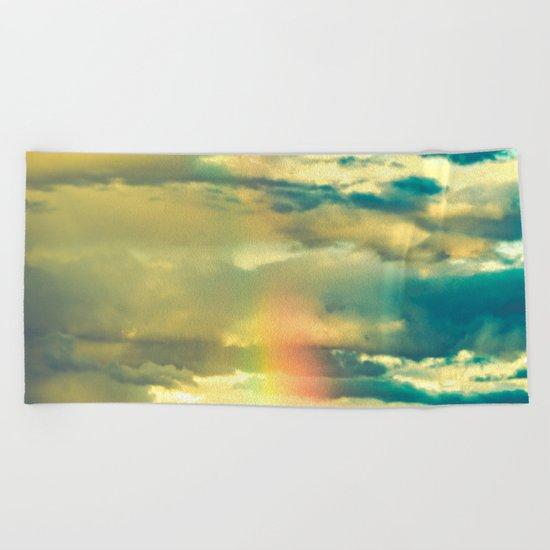 Rainbow Blue Sky Clouds Beach Towel