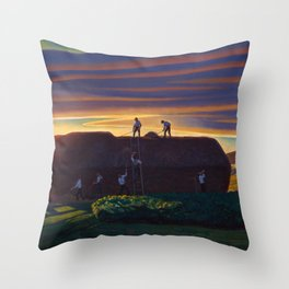 Dan Wards Hay Stack, Heartland Sunset landscape painting by Rockwell Kent Throw Pillow
