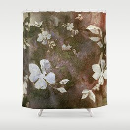 Carved White Blossoms on the Rocks Shower Curtain