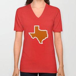 Texas Outline in Burnt Orange, Longhorns Unisex V-Neck