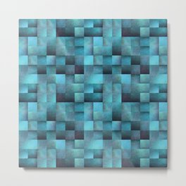 Tiled Pattern Shades Of Blue Metal Print
