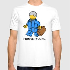 Forever Young SMALL White Mens Fitted Tee