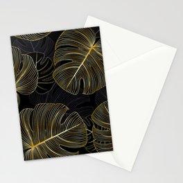 Golden monstera leaves pattern Stationery Cards