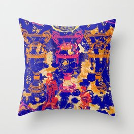 Baroque original print - Blue Throw Pillow