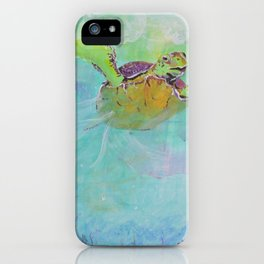 Painterly Sea Turtle Swimming in Turquoise water iPhone Case