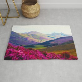 Beautiful Candy Land Fairytale Fantasy Landscape Purple pink Flowers Rolling Hills Moutains Rug