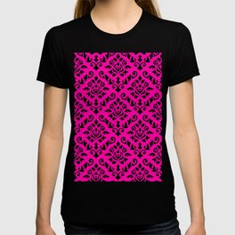 Damask Baroque Pattern Black on Magenta T-shirt