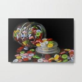 Glass Button Jar Metal Print