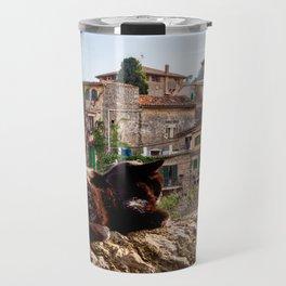 Cat sunbathing in Valldemossa Travel Mug