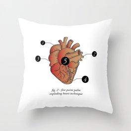 Five Point Palm Exploding Heart Technique Throw Pillow