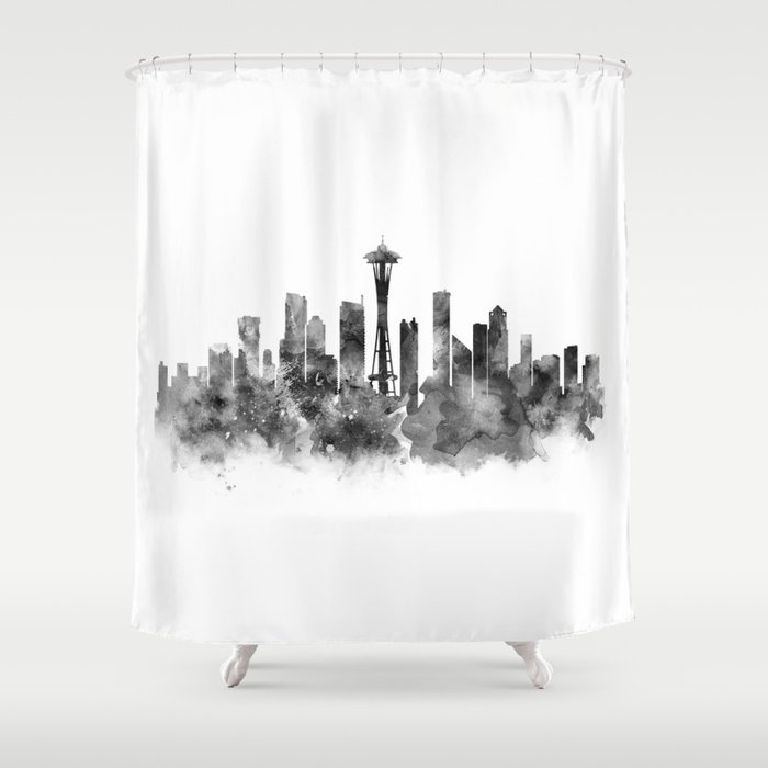 Seattle Black And White Shower Curtain