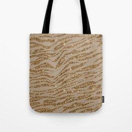 Zebra Stripes Golden Glitter Elegant Glamorous  Tote Bag