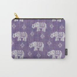 Elephants on Linen - Amethyst Carry-All Pouch