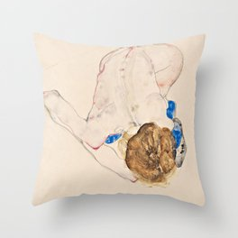 Egon Schiele - Nude with Blue Stockings, Bending Forward Throw Pillow