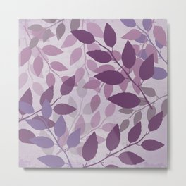 Purple and Violet Abstract Leaves Metal Print