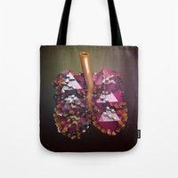 lungs Tote Bags featuring Lungs by Victoria Cartwright