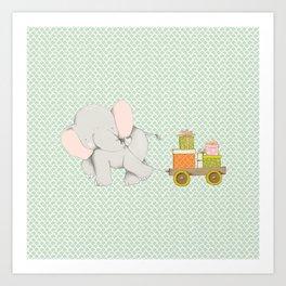 Christmas Elephant Art Print