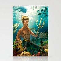 aquaman Stationery Cards featuring Aquaman Black Lagoon (Dark Water Version)  by Brian Hollins art