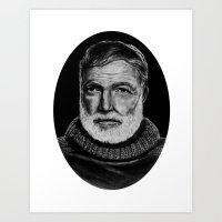hemingway Art Prints featuring Hemingway by bepy