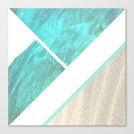 Ocean, Sand, Boat. collage, blue, turquoise, white, art, decor, society6. Canvas Print