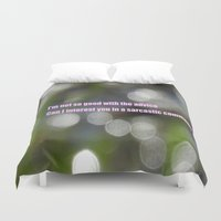 sarcasm Duvet Covers featuring Bokeh Sarcasm by Casey J. Newman